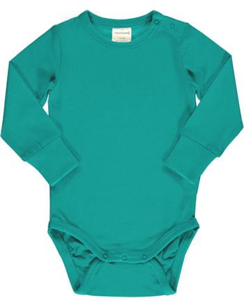 Maxomorra Baby-Body Langarm SOLID LAGOON grün XAS3-39A GOTS