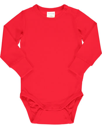 Maxomorra Bodysuit long sleeve SOLID RUBY red C3517-M449 GOTS