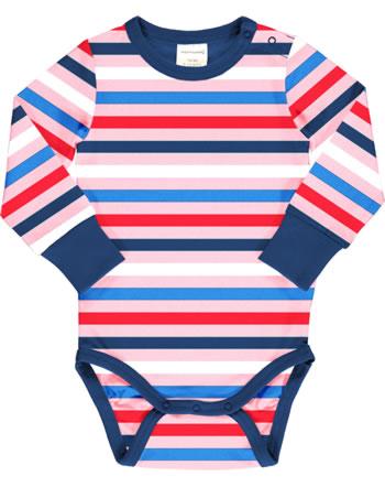 Maxomorra Bodysuit long sleeve STRIPE BLOSSOM pink C3493-M524 GOTS
