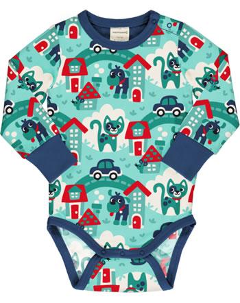 Maxomorra Body pour bébé manches longues TOWN turquoise C3479-M469 GOTS