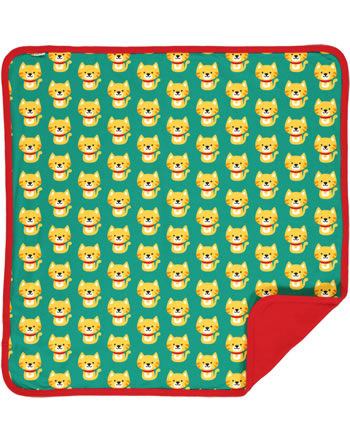 Maxomorra Blanket 70x70 CAT turquoise/red C3429-M439 GOTS