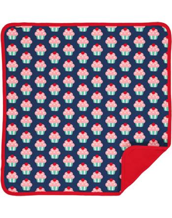 Maxomorra Blanket 70x70 CUPCAKE blue C3425-M493 GOTS