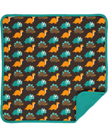 Maxomorra Blanket 70x70 DINOSAURS turquoise/brown C3427-M493 GOTS