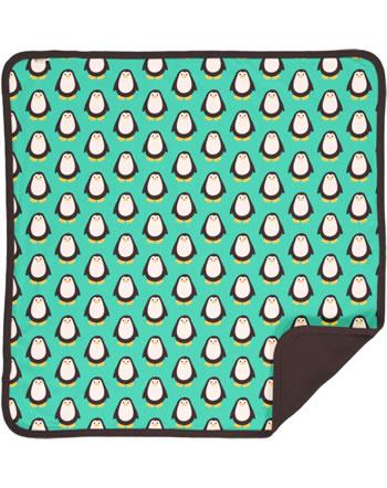Maxomorra Blanket 70x70 PENGUIN turquoise/brown C3428-M493 GOTS