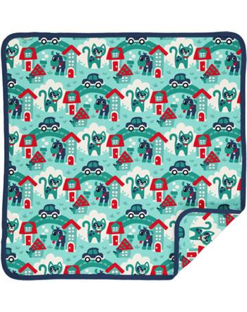 Maxomorra Baby Decke Krabbeldecke 70x70 TOWN türkis C3479-M493 GOTS