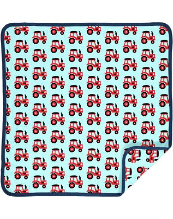 Maxomorra Baby Decke Krabbeldecke 70x70 TRACTOR türkis C3468-M493 GOTS