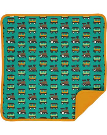Maxomorra Baby Decke Krabbeldecke 70x70 TRAIN petrol/orange C3412-M493 GOTS