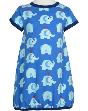 Maxomorra Ballon-Kleid Kurzarm ELEPHANT FRIENDS blau GOTS M514-C3339