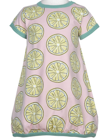 Maxomorra Ballon-Kleid Kurzarm FRESH LEMON rosa GOTS M514-C3383