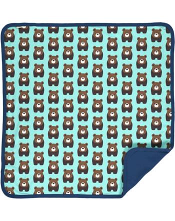 Maxomorra Decke BEAR blau C3407-M493 GOTS