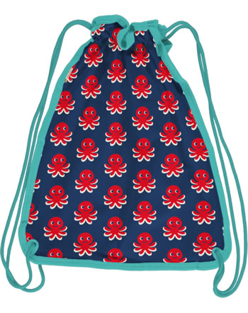 Maxomorra Gym Bag Sweat Turnbeutel OCTOPUS blau/rot C3476-M563 GOTS