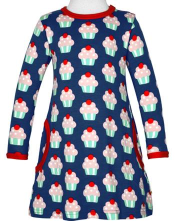Maxomorra Dress long sleeve CUPCAKE blue C3425-M436 GOTS
