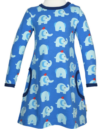 Maxomorra Kleid Langarm ELEPHANT FRIENDS blau GOTS M436-C3339