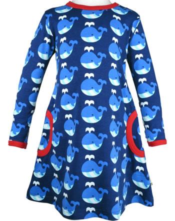 Maxomorra Kleid Langarm WHALE blau/rot C3413-M436 GOTS