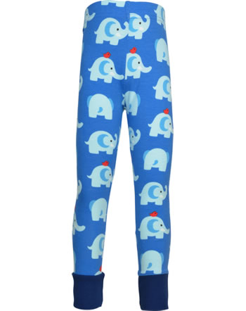 Maxomorra Leggings mit Bündchen ELEPHANT FRIENDS blau GOTS M435-C3339