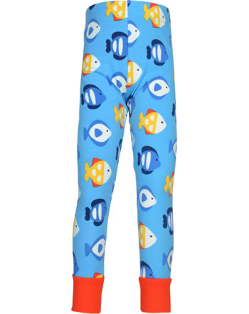 Maxomorra Leggings mit Bündchen TROPICAL AQUARIUM blau GOTS M435-C3348