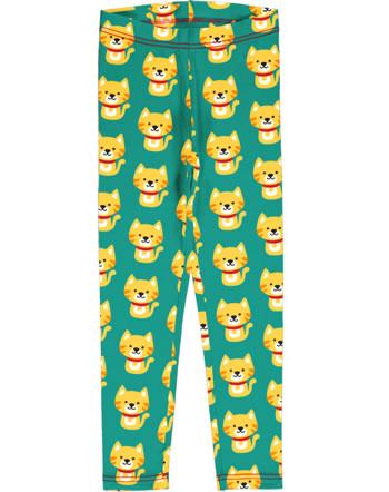 Maxomorra Leggings Sweat CAT turquoise/yellow C3429-M458 GOTS