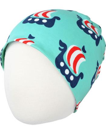 Maxomorra Hat VIKING SHIP turquoise C3475-M544 GOTS