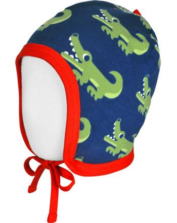 Maxomorra Hat to tie CROCODILE blue C3469-M391 GOTS