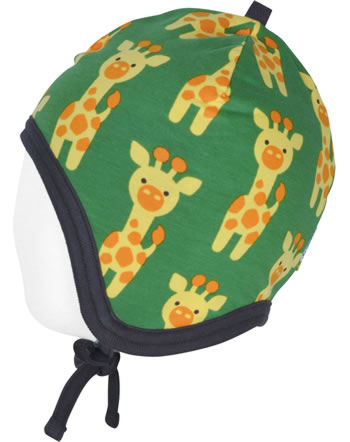 Maxomorra Mütze zum Binden m. Velours-Futter GIRAFFE grün C3424-M484 GOTS