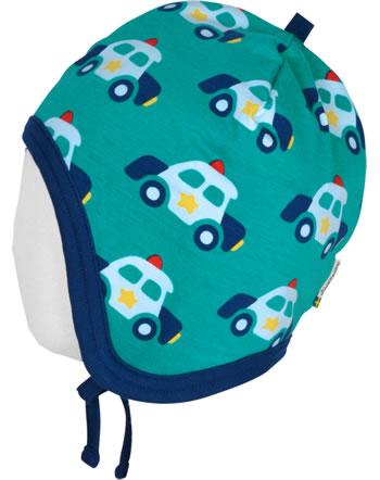 Maxomorra Hat Helmet Velour POLICE CAR green C3421-M484 GOTS