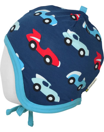 Maxomorra Mütze zum Binden m. Velours-Futter RACE blau/rot C3426-M484 GOTS