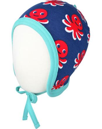 Maxomorra Hat to tie OCTOPUS blue / red C3476-M391 GOTS