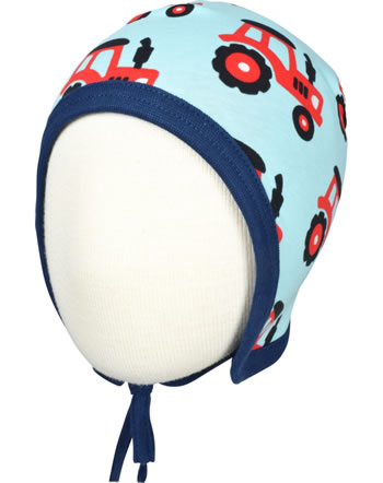 Maxomorra Hat to tie TRACTOR blue C3468-M391 GOTS