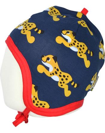 Maxomorra Mütze zum Binden Velours-Futter CHEETAH blau XA23-22A GOTS