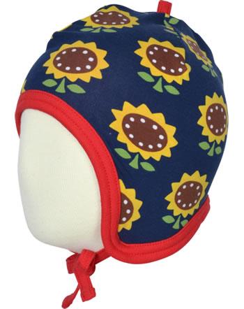 Maxomorra Mütze zum Binden Velours-Futter SUNFLOWER blau XA15-22A GOTS