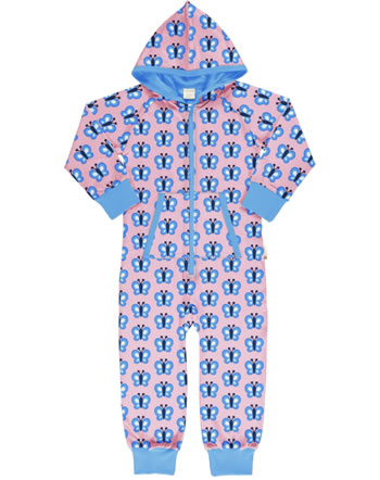 Maxomorra Overall mit Kapuze BLUEWING BUTTERFLY rosa GOTS M209-C3341