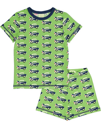 Maxomorra Pyjama kurz CAR grün C3474-M439 GOTS