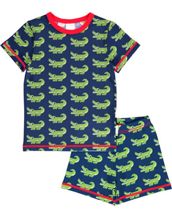 Maxomorra Pyjama kurz CROCODILE blau C3469-M439 GOTS