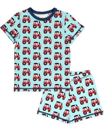 Maxomorra Pyjama kurz TRACTOR türkis C3468-M439 GOTS