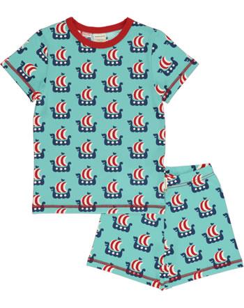 Maxomorra Pyjama kurz VIKING SHIP türkis C3475-M439 GOTS