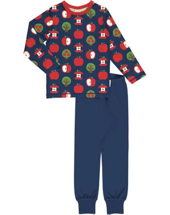 Maxomorra Pyjama lang APPLE blau C3409-M437 GOTS