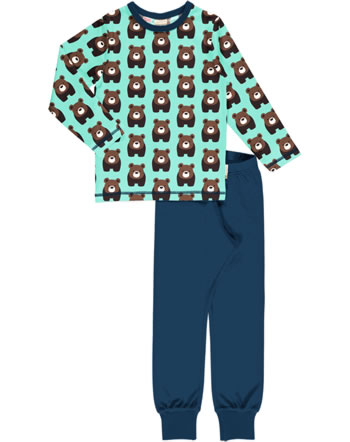 Maxomorra Pyjama lang BEAR blau C3407-M437 GOTS