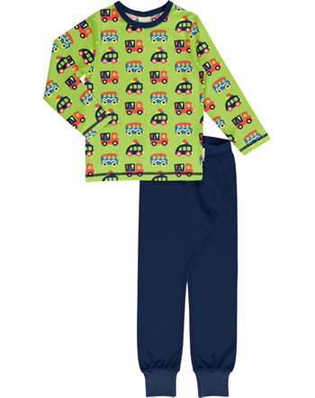 Maxomorra Pyjama lang BUNTE AUTOS grün/blau GOTS M437-C3334
