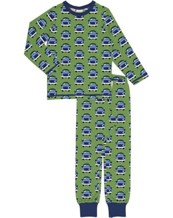 Maxomorra Pyjama lang CAR grün XA12-11A GOTS