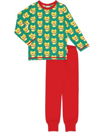 Maxomorra Pyjama set long CAT turquoise/red C3429-M437 GOTS