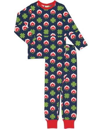 Maxomorra Pyjama lang CLOVER blau XA26-11A GOTS
