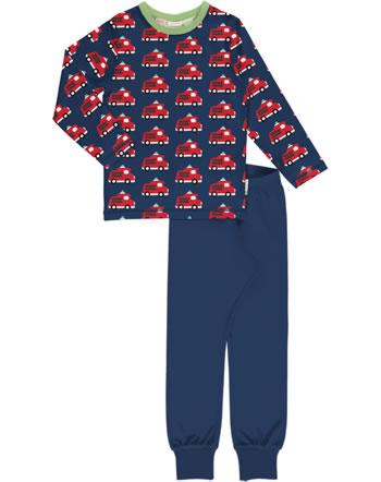 Maxomorra Pyjama lang FIRE TRUCK blau C3406-M437 GOTS