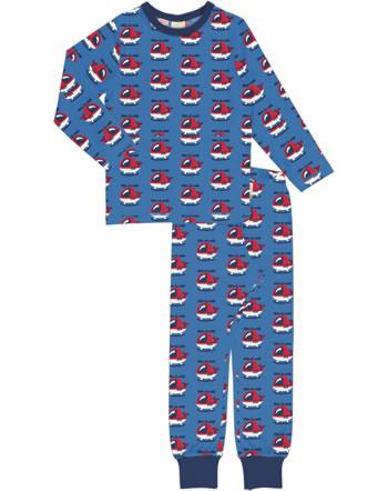 Maxomorra Pyjama lang HELICOPTER blau XA22-11A GOTS