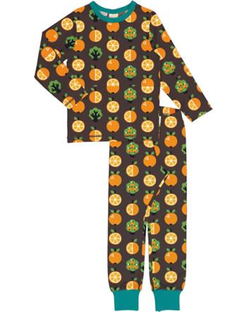 Maxomorra Pyjama lang ORANGE braun XA25-11A GOTS