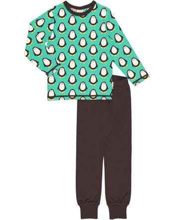 Maxomorra Pyjama lang PENGUIN türkis/braun C3428-M437 GOTS