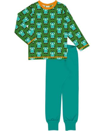 Maxomorra Pyjama lang ROBOT grün C3422-M437 GOTS