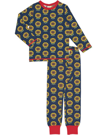 Maxomorra Pyjama lang SUNFLOWER blau XA15-11A GOTS