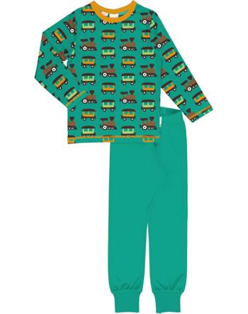 Maxomorra Pyjama set long TRAIN petrol/orange C3412-M437 GOTS