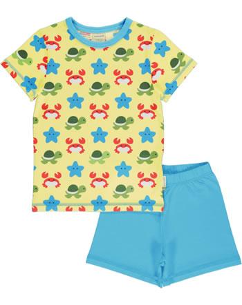 Maxomorra Pyjama short BEACH BUDDIES jaune GOTS M439-C3347