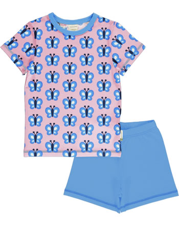 Maxomorra Pyjama Schlafanzug kurz BLUEWING BUTTERFLY rosa GOTS M439-C3341